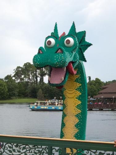 Giant lego dragon in the lake