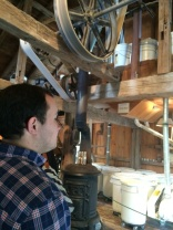Cason checking out the inside of the gristmill.