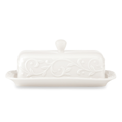 The butter dish that we will use for years to come. http://www.bedbathandbeyond.com/store/product/lenox-reg-opal-innocence-8-inch-covered-butter-dish/1041566497?skuId=41566497&registryId=10741783